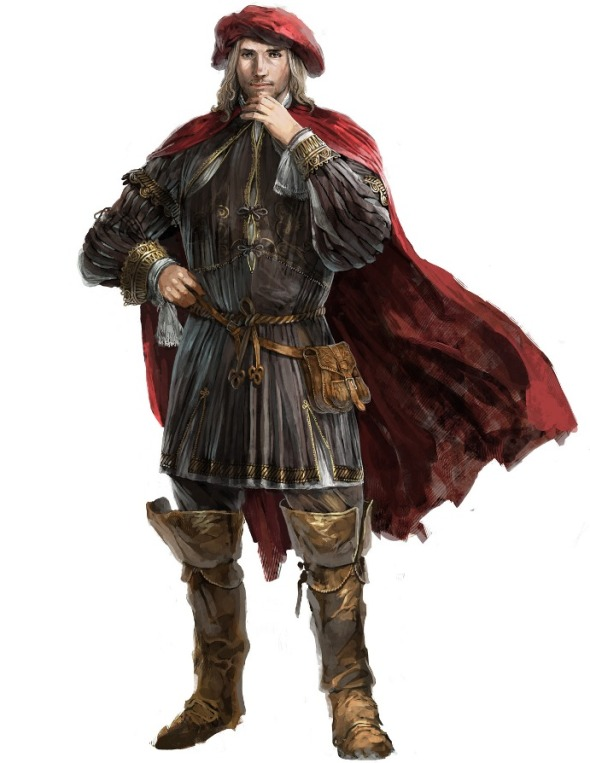 For some reason, the only good in-game renders of Young!Leonardo I could find always had Ezio budging in on them, so here's some concept art instead.