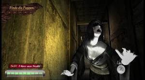 Posthumous o hai, Blind Woman! (By the way, I'd like to point out that this image is in German. I'm amazed Germany even allows Fatal Frame to exist in their country, what with their views on censorship.)