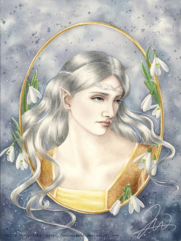 "Fan interpretations of her appearance vary between silver or pale blonde hair, largely thanks to Tolkien's failure to give her a proper description and the fact that her name literally translates to ""silver queen"" in Sindarin. (Picture belongs to deviantARTist Veronnikka.)"