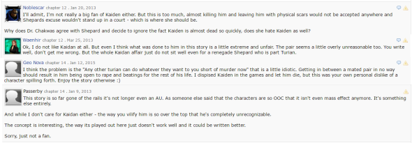 Fanfiction.net Reviews Against Kaidan