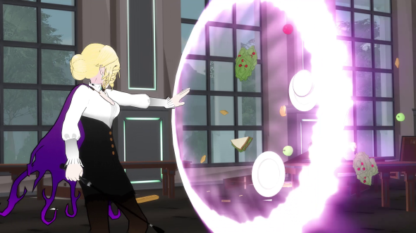 Glynda dealing with your average Beacon food fight.